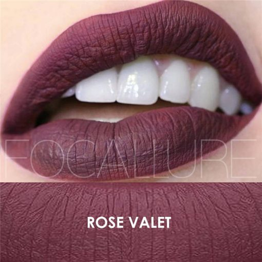 Color Rose Valet FOCALLURE Matte Lipgloss Sexy Liquid Lipstick Matte Long Lasting Waterproof Cosmetic Beauty