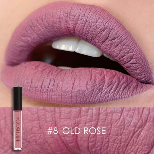 Color 8 Old Rose FOCALLURE Matte Lipgloss Sexy Liquid Lipstick Matte Long Lasting Waterproof Cosmetic Beauty