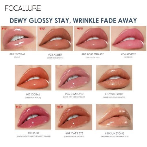 Focallure Plumpmax Nourise Lip Glow Hoge Shine & Shimmer Glossy Lippen Make Non Sticky Plumping Lipgloss