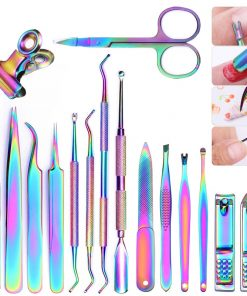 8 Style Colorful Cuticle Pusher Tweezer Nails Pusher Tools Cuticle Trimmer Dead Skin UV Gel Polish Stainless Steel Clean Tools