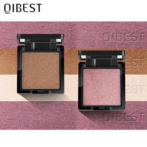 QIBEST Highlighter Bronzer Palette Face Makeup Contour Glow Long Lasting Shimmer Illuminator Highlighter Powder Shining Cosmetic