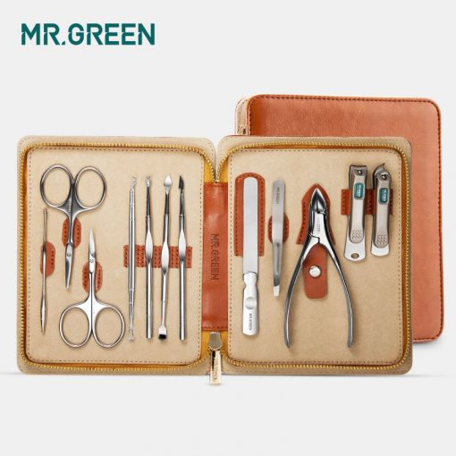 MR.GREEN 12 in1 Manicure Set Stainless Nail Clippers Cuticle Utility Manicure Set Tools Nail Care Grooming Kit Nail Clipper Set