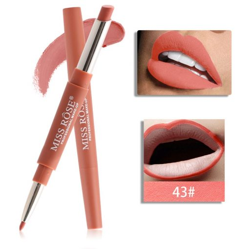 Miss Rose Double 2 in 1 Matte Lipstick liner Color 43