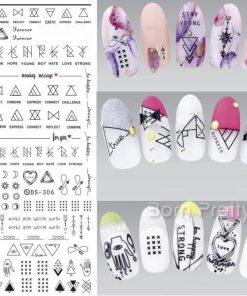 Geometric Nail Water Decals Line Dreamcacher Heart Moon Nail Disign Water Stickers For Nails DIY Nails Art Nail Polish Stickers