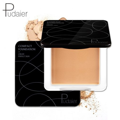 Pudaier New Natural Makeup Powder for Face Oil-control Mineral Powder Compact Foundation Translucent Powder Pressed With Puff