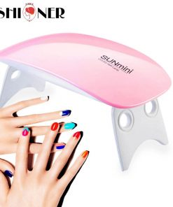 6W LED Lamp Nail Dryer 6LEDs UV Ice Lamp For Drying Gel Polish 45/60s Timer Auto Sensor Manicure Tools